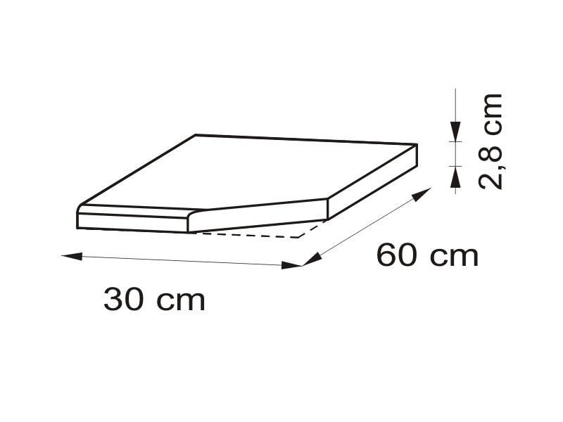 Pracovná doska 30 cm, pravá - BRW - Nika - BLAT/30P